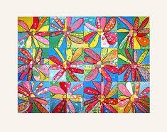 Groepswerk: Ieder kind tekent/schildert een deel van een bloem. Aan het eind alles samenvoegen!
