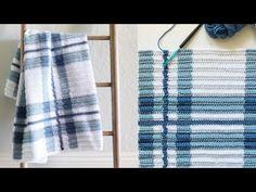 (1540) Crochet Blue Plaid Blanket - YouTube Crochet Square Blanket, Afghan Crochet Patterns, Baby Blanket Crochet, Baby Knitting Patterns, Crochet Baby, Knit Crochet, Crochet Blankets, Baby Blankets, Farm Crafts