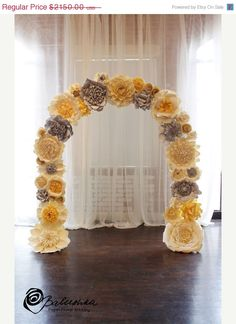 Flowers can be customized to your event and includes custom color. This set of thirty five flowers completely covers a 7.5 feet arch by 7 feet wide. The