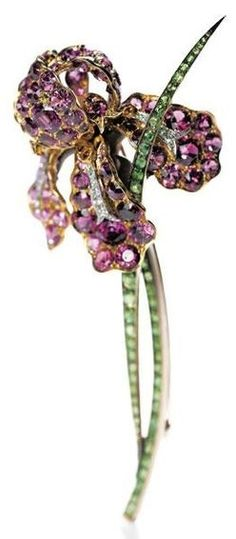 An Art Nouveau Iris Brooch, by Paulding Farnham for Tiffany & Co., circa…