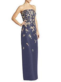 Oscar de la Renta - Strapless Embellished Dress