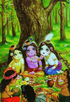 Krishna feeds