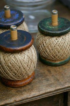 Antique spools with twine