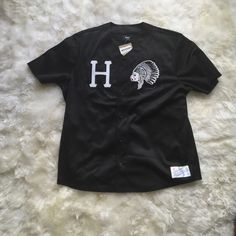 Huf baseball jersey Baseball jersey button up. Sexy Indian chief smoking on front. 86 on back HUF Tops Tees - Short Sleeve