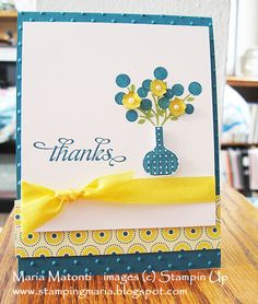 stampin up + bright blossoms | April Thank You Card - Bright Blossoms Stamp Set