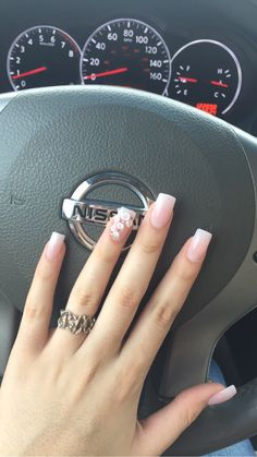 Pin by Daisy Ortega on Uñas in 2019 French Acrylic Nails, Cute Acrylic Nails, Acrylic Nail Designs, French Nails, Cute Nails, Em Nails, Hair And Nails, Bride Nails, Nails Only