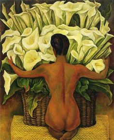 """Diego Rivera was a prominent Mexican painter. His large frescoes helped establish the Mexican Mural Movement in Mexican art. Diego River was Frida Kahlo's former spouse. Of of his famous painting is """"Nude With Calla Lilies,"""" which was painted in 1944. You see the back of a nude woman who seems to be hugging it gathering her flowers.  SOURCE: http://www.diegorivera.org/nudecalla.jsp"""