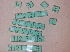 Nuevo juego para el rincón de las construcciones y matemáticas...    ¿Qué número falta? hay que completar la recta numérica.        Recta ... Montessori Math, Kindergarten Math, Teaching Math, Math Activities, Toddler Activities, Preschool Activities, Math Stations, Math Centers, File Folder Activities