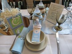 Cute place settings at a Blue and Green Baby Shower!  See more party ideas at CatchMyParty.com!  #partyideas #babyshower