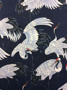 Cranes Elegant White Birds On Navy Wings Cotton Fabric Quilt Fabric KB09....yes please! I will have you