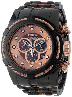Invicta Men's 12748 Bolt Reserve Chronograph Brown Mother-of-Pearl Dial Black Ion-Plated Stainless Steel Watch