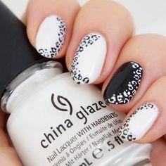 Seize The Nail   Black and white animal print nail art!