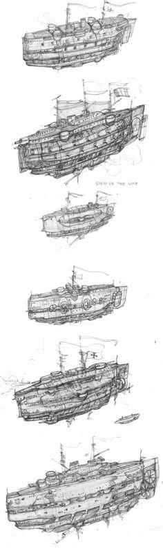 Steampunk flying battleship by yau88hse