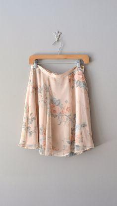 vintage floral print skirt / chiffon floral skirt
