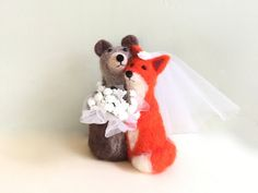 Bride and Groom wedding cake topper for wedding bear by Felt4Soul