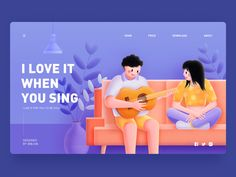 I love it when you sing by Zhang 张小哈 for DCU on Dribbble Boy Illustration, Graphic Design Illustration, Illustrations, Media Design, Web Design, Flat Design, Ux Design Portfolio, Fb Banner, When You Smile