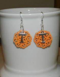 Tennessee Vols Inspired Orange Wooden Earrings by christinscorner, $7.00 OH I WANT THESE