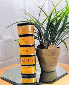"""Vintage Scotch Liquor Ceramic Book Decanter. This """"book"""" is actually a liquor decanter with a Cork Stopper! - This book Decanter in very good condition with slight wear. - No chips. - Marked Made in Japan on the bottom."""