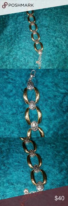 🎁Brighton bracelet Mediteranian family. Beautiful chunky solid bracelet. Brushed slighly hammered gold and deco pattern.  Like new condition. No wear. Pic 4 is backside. COMPARE TO $40 on this site.  It's a deal!! Brighton  Jewelry Bracelets
