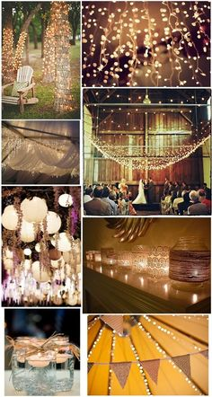 Love the candles and mason jar idea and the string lights!