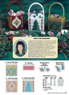 Christmas Treat Bags, Christmas Baskets, Christmas Crafts, Christmas Ideas, Xmas, Plastic Canvas Ornaments, Plastic Canvas Crafts, Plastic Canvas Patterns, Plastic Canvas Christmas