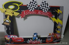 Photo booth cars Pixar Cars Birthday, Race Car Birthday, Hot Wheels Birthday, Hot Wheels Party, Birthday Photo Frame, Birthday Frames, Car Themed Parties, Cars Birthday Parties, Picture Frames For Parties