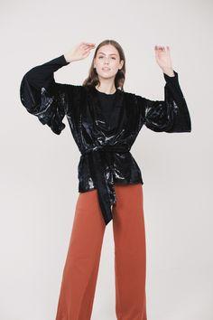 Striped Kimono Short - Black by MAUD | VILLOID Kimono, Sweaters, Black, Black People, Sweater, Kimonos, Sweatshirts, Pullover Sweaters, Pullover