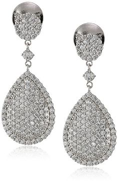 Charles Winston S Silver White Cubic Zirconia Drop Earrings 350 ct tw *** You can find more details by visiting the image link.