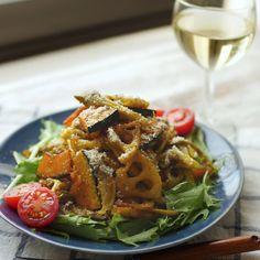 簡単デリ風♪かぼちゃとれんこんのローストサラダ - macaroni