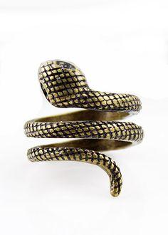 Vintage Striped Winding Snake Ring