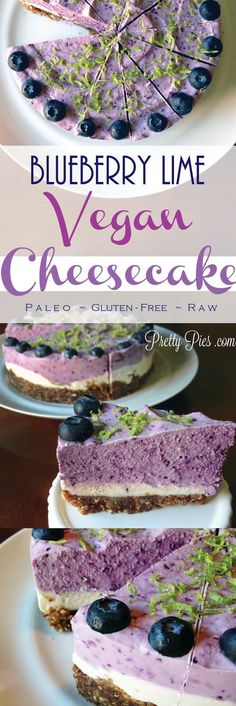 Cheesecake (Vegan, GF, Paleo) Blueberry Lime Cheesecake that is not only pretty, but GOOD for you!Blueberry Lime Cheesecake that is not only pretty, but GOOD for you! Lime Cheesecake, Cheesecake Recipes, Blueberry Cheesecake, Vegan Blueberry, Raw Vegan Cheesecake, Raw Desserts, Paleo Dessert, Health Desserts, Raw Dessert Recipes