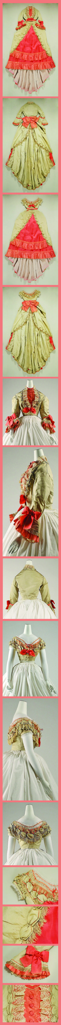 Ensemble Date: 1869 Culture: French Medium: silk. The Met.