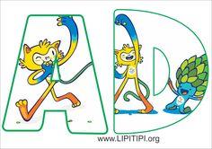 Lipitipi- Atividades e Projetos Fundamental I: Letras e numerais decorados para montagem de painel Olimpíadas Rio 2016