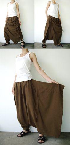 N  26 Sarouel asymétrique en coton brun verdâtre