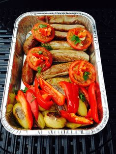 BBQ organic chicken sausages with potatoes ,tomatoes and capsicum