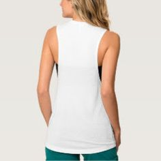 Custom Womens Flowy Muscle Tank Top - Create your own custom, personalized, women's flowy muscle tank top - with rib scoop neck for comfort and durability, wide armhole for a natural range of motion, and a loose fit for comfort and a casual look. A femininely bold take on the muscle tank, with modern, must-have style. Made with soft poly-viscose, it's easy to dress up and down, great for layering and perfect for all day wear.