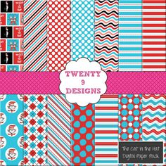 The Cat In The Hat Inspired Digital Paper Pack - INSTANT DOWNLOAD