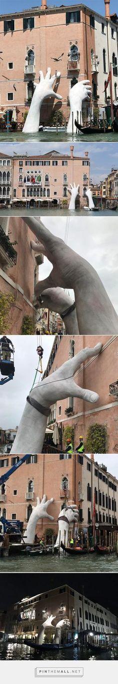 lorenzo quinn's support sculpture braces ca' sagredo hotel at the venice art biennale - created via https://pinthemall.net