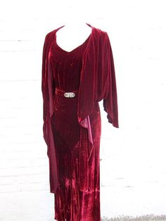 1920s Dreamy Long Drapey Cranberry Silk Velvet by thegetupvintage