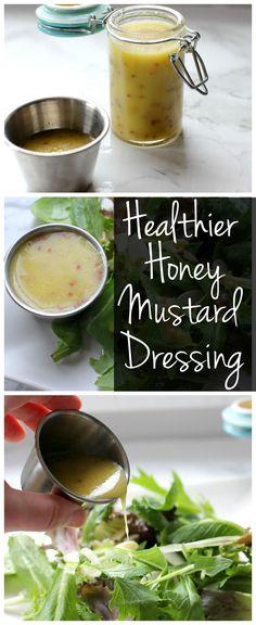 Skip the bottled salad dressing and make this healthier honey mustard dressing!