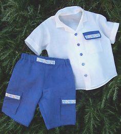 ELEGANT Boy sewing pattern PDF - Shirt and Shorts, long shorts pants, children toddler, Boys size 3 4 5 6 7 8 9 10 years. $5.50, via Etsy.