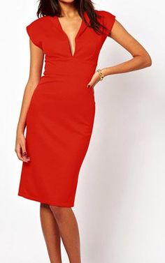 Sleeveless Plunging Neck Low-Cut High Waistline Packet Buttock Slimming Women's Dress, RED, M in Casual Dresses | DressLily.com