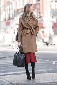 Wrap coat, street style, New York City / Garance Doré