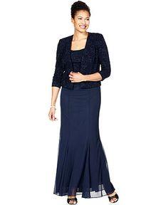 Alex Evenings Dress and Jacket, Sleeveless Textured Glitter Evening Gown - Womens Dresses - Macy's