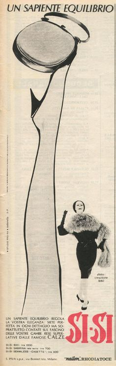 Vintage Italian Posters ~ #illustrator #Italian #vintage #posters ~advertising - Rhodiatoce (socks Si-Si) 1964