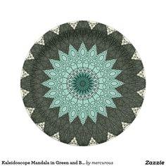Kaleidoscope Mandala in Green and Blue Paper Plate
