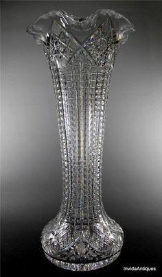 MASSIVE 11 lb ABP Brilliant Cut Glass Vase w Flared Rim & Notched Miters