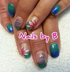 Tropical Flower Ombre Nails by B #nailart #handpainted #nailsbyb #gelpolish