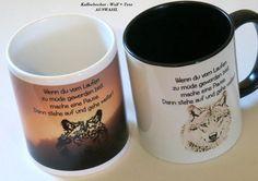 **Kaffeebecher Wolf mit Text/Spruch mit Karton- AUSWAHL**  Spruch: Wenn du vom Laufen zu müde geworden bist, mache eine Pause. Dann stehe auf und gehe weiter! Kaffeebecher kommt in einem...