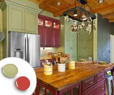 Green and Red Kitchen Cabinet In Colorful Kitchen Design. Red Island and all green cabinets. Kitchen Cabinets Color Combination, Kitchen Cabinet Colors, Painting Kitchen Cabinets, Kitchen Paint, Kitchen Redo, Kitchen Colors, Kitchen Remodel, Kitchen Walls, Nice Kitchen